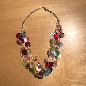 Multi Strand Mother of Pearl Shell Button Necklace